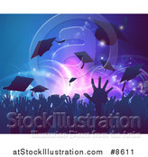 Vector Illustration of a Silhouetted Graduation Crowd Tossing up Their Mortar Board Caps Against Party Lights by AtStockIllustration