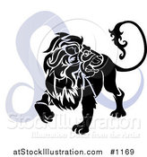 Vector Illustration of a Silhouetted Lion over a Blue Leo Astrological Sign of the Zodiac by AtStockIllustration