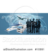 Vector Illustration of a Silhouetted Logistics Business Team Standing over a Map with a Plane, Truck, Train and Ship by AtStockIllustration