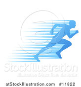 Vector Illustration of a Silhouetted Male Runner Sprinting with Blue Speed Lines by AtStockIllustration