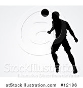 Vector Illustration of a Silhouetted Male Soccer Player Heading a Ball over Gray by AtStockIllustration