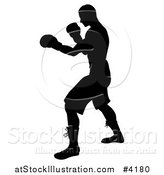 Vector Illustration of a Silhouetted Man Fighting with Boxing Gloves by AtStockIllustration
