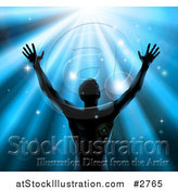 Vector Illustration of a Silhouetted Man Holding up His Arm Under Blue Rays by AtStockIllustration