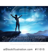 Vector Illustration of a Silhouetted Man in Worship, on a Cliff, Holding His Arms up to a Blue Sky over Mountains by AtStockIllustration