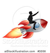 Vector Illustration of a Silhouetted Man Pointing and Riding on a Rocket by AtStockIllustration