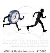 Vector Illustration of a Silhouetted Man Racing a Clock Character, with a Reflection by AtStockIllustration