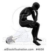 Vector Illustration of a Silhouetted Man Sitting and Thinking on a Light Bulb by AtStockIllustration