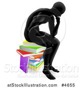 Vector Illustration of a Silhouetted Man Sitting and Thinking on a Stack of Books by AtStockIllustration
