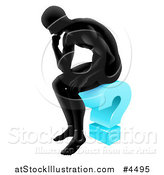 Vector Illustration of a Silhouetted Man Thinking on a Blue Question Mark by AtStockIllustration