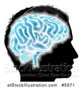 Vector Illustration of a Silhouetted Mans Head with a Glowing Blue Brain by AtStockIllustration