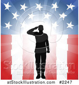 Vector Illustration of a Silhouetted Military Soldier Saluting over American Flag by AtStockIllustration
