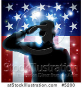 Vector Illustration of a Silhouetted Military Veteran Saluting over an American Flag and Bursts by AtStockIllustration