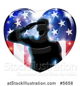 Vector Illustration of a Silhouetted Military Veteran Saluting over an American Flag Heart and Bursts by AtStockIllustration