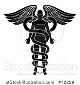 Vector Illustration of a Silhouetted Person As the Rod in a Medical Snake and Wing Caduceus, Black and White by AtStockIllustration