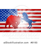 Vector Illustration of a Silhouetted Political Aggressive Democratic Donkey or Horse and Republican Elephant Battling over an American Flag and Burst by AtStockIllustration