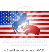 Vector Illustration of a Silhouetted Political Aggressive Democratic Donkey or Horse and Republican Elephant Fighting over a USA Flag by AtStockIllustration