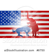 Vector Illustration of a Silhouetted Political Aggressive Democratic Donkey or Horse and Republican Elephant Fighting over an American Flag and Burst by AtStockIllustration