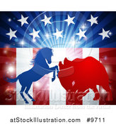 Vector Illustration of a Silhouetted Political Democratic Donkey or Horse and Republican Elephant Fighting over an American Design and Burst by AtStockIllustration