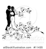Vector Illustration of a Silhouetted Posing Wedding Bride and Groom by AtStockIllustration