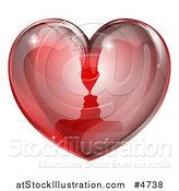 Vector Illustration of a Silhouetted Profiled Couple About to Kiss in a Reflective Red Heart by AtStockIllustration