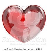 Vector Illustration of a Silhouetted Profiled Couple in a Reflective Red Heart by AtStockIllustration