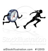 Vector Illustration of a Silhouetted Racing a Clock Character by AtStockIllustration