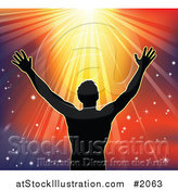 Vector Illustration of a Silhouetted Religious Man Holding His Arms up to Sunshine by AtStockIllustration