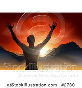 Vector Illustration of a Silhouetted Religious Man Holding His Arms up with Rays and Mountains by AtStockIllustration