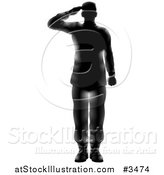 Vector Illustration of a Silhouetted Saluting American Military Soldier with Light Flares by AtStockIllustration