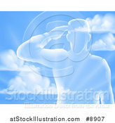 Vector Illustration of a Silhouetted Saluting Soldier over a Blue Sky and Ray Background by AtStockIllustration