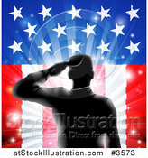Vector Illustration of a Silhouetted Saluting Soldier over Fireworks and an American Flag by AtStockIllustration