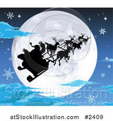 Vector Illustration of a Silhouetted Santa Sled and Reindeer Against a Full Moon on a Snowy Christmas Eve by AtStockIllustration