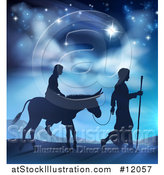 Vector Illustration of a Silhouetted Scene of Mary and Joseph on Their Jouney by AtStockIllustration