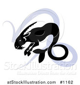 Vector Illustration of a Silhouetted Sea Goat over a Blue Capricorn Astrological Sign of the Zodiac by AtStockIllustration