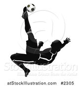 Vector Illustration of a Silhouetted Soccer Player Catching Air to Kick a Ball by AtStockIllustration