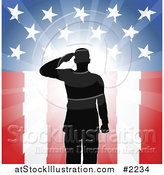 Vector Illustration of a Silhouetted Soldier Saluting over American Flag by AtStockIllustration