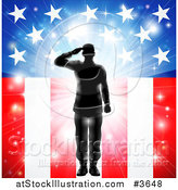 Vector Illustration of a Silhouetted Soldier Saluting over Fireworks and an American Flag by AtStockIllustration