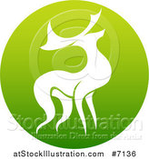 Vector Illustration of a Silhouetted Stag Deer Buck in a Gradient Green Circle by AtStockIllustration