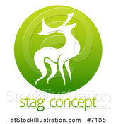 Vector Illustration of a Silhouetted Stag Deer Buck in a Gradient Green Circle over Sample Text by AtStockIllustration