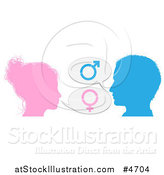 Vector Illustration of a Silhouetted Talking Man and Woman with Gender Balloons by AtStockIllustration