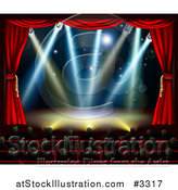 Vector Illustration of a Silhouetted Theater Audience Facing a Stage with Lights by AtStockIllustration