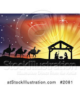 Vector Illustration of a Silhouetted Traditional Christian Nativity Scene with the Three Wise Men and the Manger Against Rays by AtStockIllustration