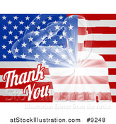 Vector Illustration of a Silhouetted Transparent Saluting Soldier over an American Flag and Thank You Text for Veterans Day by AtStockIllustration