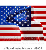 Vector Illustration of a Silhouetted Transparent Saluting Soldier over an American Flag by AtStockIllustration