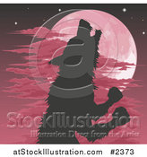 Vector Illustration of a Silhouetted Werewolf Howling Against a Red Full Moon by AtStockIllustration