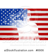 Vector Illustration of a Silhouetted White Light Saluting Soldier over an American Flag with Rays by AtStockIllustration