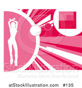Vector Illustration of a Silhouetted White Woman Dancing on a Pink Background by AtStockIllustration
