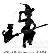 Vector Illustration of a Silhouetted Witch Tipping Her Hat and Flying on a Broomstick with a Cat by AtStockIllustration