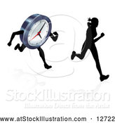 Vector Illustration of a Silhouetted Woman Racing a Clock Character by AtStockIllustration