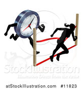 Vector Illustration of a Silhouetted Woman Racing Against the Clock, Running Through a Finish Line by AtStockIllustration